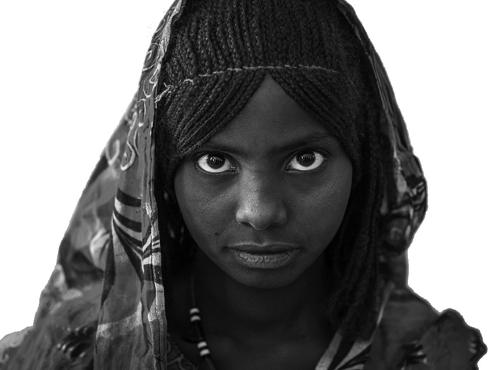 Portrait of an afar tribe girl with braided hair, Afar region, Semera, Ethiopia